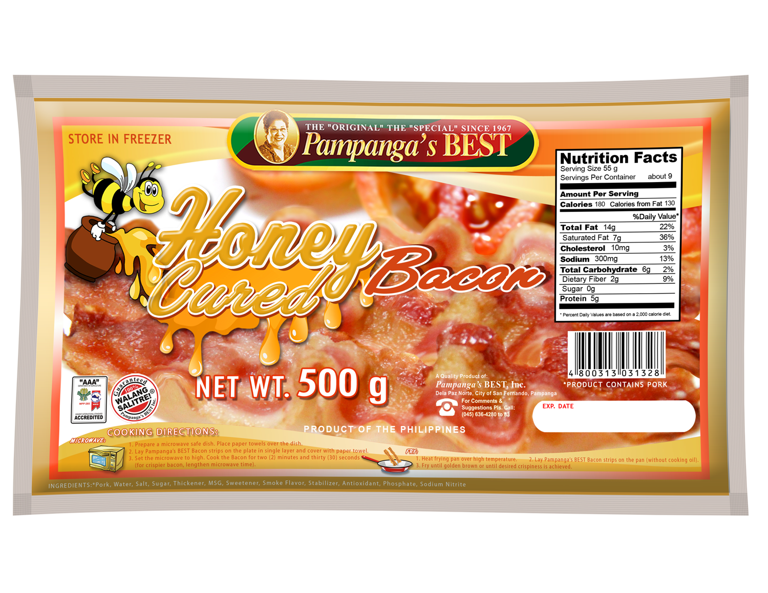 Bacon Honey Cured 500g